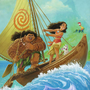 Moana, sets sail in search of Maui, with a legendary demigod, - closeup