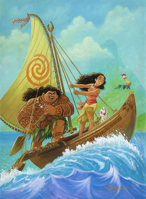Moana, sets sail in search of Maui, with a legendary demigod,