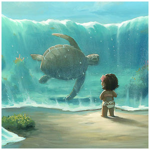 Moana sees a giant tortoise swim up close.
