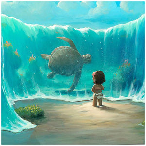 Moana's New Friend by Rob Kaz.  A younger Moana featured in this under the water ocean scene, the waters have risen providing an open path for Moana to see a giant tortoise swim up close - closeup
