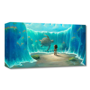 Moana's New Friend by Rob Kaz.  A younger Moana featured in this under the water ocean scene, the waters have risen providing an open path for Moana to see a giant tortoise swim up close.