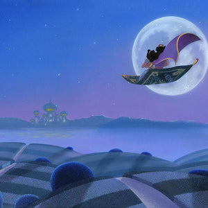 Moon Over Agrabah by Michael Provenza.  Aladdin and Jasmine flying over Agrabah on the magic carpet- closeup