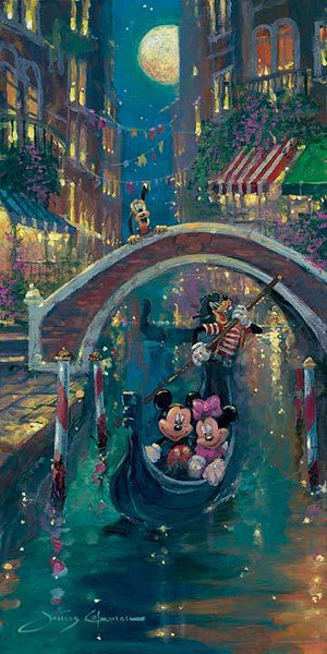 Mickey and Minnie enjoy a moonlight evening in a  gondola, as Goofy navigates them through the Venice's canals.
