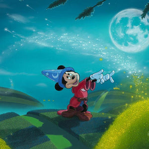 Moonlit Magic by Michael Provenza  Mickey the Sorcerer creates magic gold dust under the moonlit- closeup.