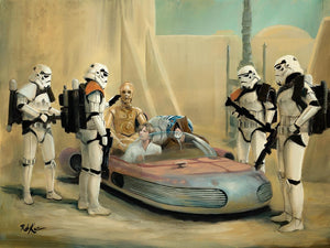 Heading into Mos Eisley, Luke, Obi-Wan, C-3PO, and R2-D2 are stopped by a squad of stormtroopers