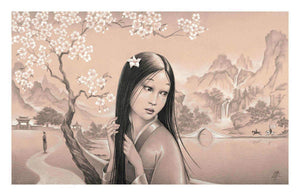 Beautiful Mulan in a the garden full of white blossoms.