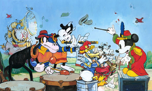 Music is in the Air by Jim Salvati.  Mickey the maestro creates music with the farm animal's band.