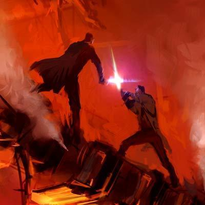 Mustafar Duel Star Wars Art By Ryan Church