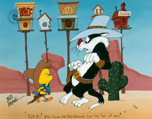 Tweety stands his ground to protect his town against Sylvester.