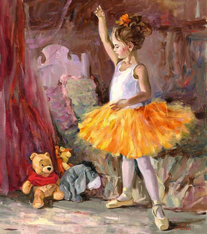 A beautiful little ballerina performs for her stuff friends, Winnie the Pooh, Eeyore and Tigger.
