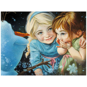 Elsa and Anna as little girls, as Elsa introduces Olaf the snowman to Anna.  Inspired by Walt Disney's Animated Movie Film - Frozen