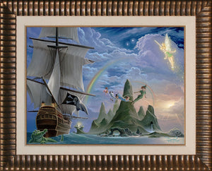 Neverland Unveiled - Original. Peter Pan's Neverland characters, Peter Pan, Wendy, Tinker Bell, Nana, John and Michael flying over the pirates ship...Published Original, Oil on Canvas.  Signed by Jared Franco