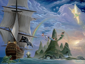Peter Pan, Wendy, Tinker Bell, Nana, John and Michael flying over the Jolly Roger pirate's ship.