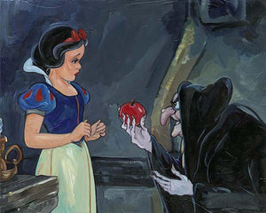 the wicked old hag (Evil Queen), offers Snow White a magic blood-red apple.