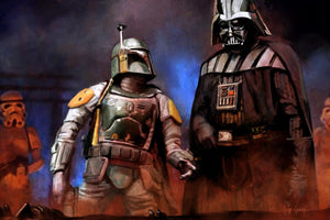 Boba Fett and Darth Vader in the carbonite chamber.