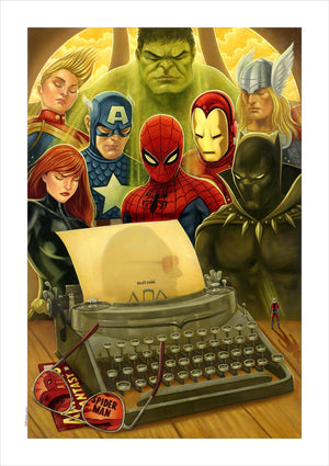 "Commemorating ""Stan Lee"", superheroes standing around a typewriter."