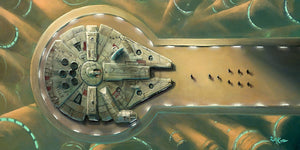 The Millennium Falcon on a platform.