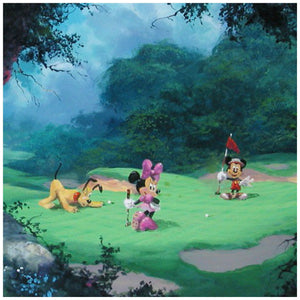 On the Green by James Coleman  A playful afternoon for Mickey, Pluto at the golf course along with Minnie as she takes her turn.