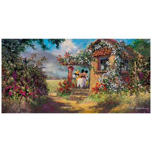 Our Old Familiar Place by James Coleman  Minnie gives Mickey a kiss on the cheeks, as they enjoy a beautiful day at the quaint garden cottage.
