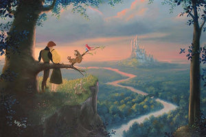 Sleeping Beauty and Prince Phillip over looking the Royal Kingdom by artist
