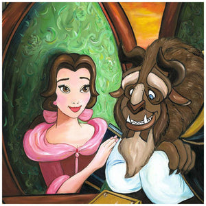Our Story by Paige O'Hara.  Belle presents the Beast with a book she has written about their romance story - closeup