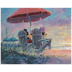 Our Sunset by James Coleman  Mickey and Minnie are enjoying the sunset at the beach while sitting on Adirondack chairs under a red umbrella.