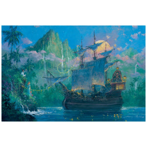 Pan on Board by James Coleman  The Captain Hook's Jolly Roger ship is anchored at Neverland's bay.
