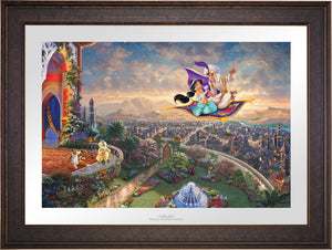 Aladdin and Jasmine soar above Agrabah and the neighboring kingdom on a magic carpet ride, as the Sultan of Agrabah (her father) and her overprotective pet tiger Rajah watch - Gallery Bronze Petite