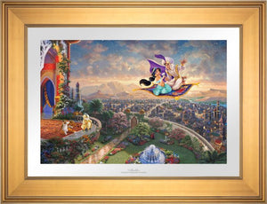 Aladdin and Jasmine soar above Agrabah and the neighboring kingdom on a magic carpet ride, as the Sultan of Agrabah (her father) and her overprotective pet tiger Rajah watch - Gallery Gold Frame