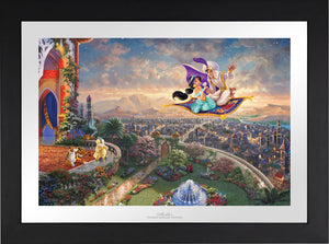 Aladdin and Jasmine soar above Agrabah and the neighboring kingdom on a magic carpet ride, as the Sultan of Agrabah (her father) and her overprotective pet tiger Rajah watch - Aladdin and Jasmine soar above Agrabah and the neighboring kingdom on a magic carpet ride, as the Sultan of Agrabah (her father) and her overprotective pet tiger Rajah watch - Satin Black Frame.
