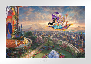 Aladdin and Jasmine soar above Agrabah and the neighboring kingdom on a magic carpet ride, as the Sultan of Agrabah (her father) and her overprotective pet tiger Rajah watch - unframed