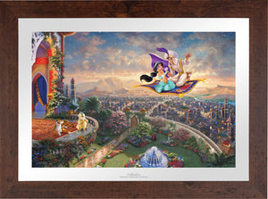 Aladdin and Jasmine soar above Agrabah and the neighboring kingdom on a magic carpet ride, as the Sultan of Agrabah (her father) and her overprotective pet tiger Rajah watch - Wildwood Frame