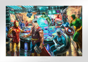 "Earth's Mightiest Heroes"" are gathered inside the Avengers Mansion formulating a plan to thwart the new threat by Thanos to Earth  - Unframed"