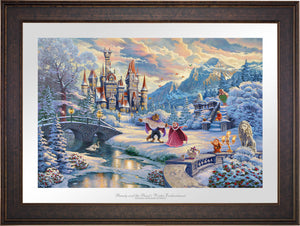 While the two dance in the crisp winter snow, Mrs. Potts, Chip, Cogsworth, Lumiére, Plumette, Frou-Frou, and Madame de Garderobe celebrate this new young love- Gallery Bronze Frame