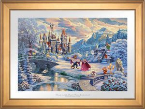 While the two dance in the crisp winter snow, Mrs. Potts, Chip, Cogsworth, Lumiére, Plumette, Frou-Frou, and Madame de Garderobe celebrate this new young love -Gallery Gold