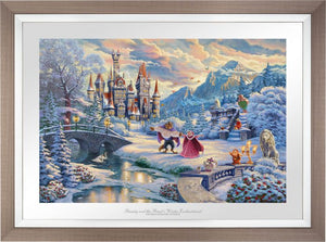 While the two dance in the crisp winter snow, Mrs. Potts, Chip, Cogsworth, Lumiére, Plumette, Frou-Frou, and Madame de Garderobe celebrate this new young love. - Space Gray Frame