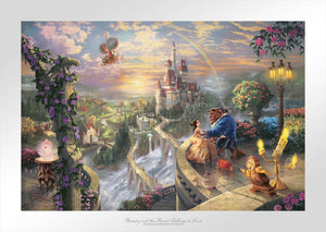 Beauty and the Beast Falling in Love by Thomas Kinkade Studios. This scene has depicted the story from the townspeople, Belle and the Beast upon the castle's veranda with Cogsworth, Mrs. Potts, and of course, Lumiere gathered around.