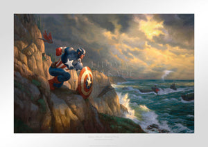 Captain America has positioned himself ready to battle Red Skull and his Hydra henchmen, who are approaching the coast in submarines.  Unframed Paper