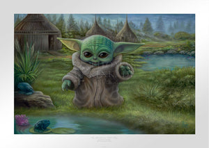 The Child plays by the pond. Inspired by Star Wars Movies Series The Mandalorian.