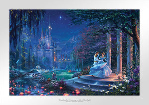 Cinderella's dreams have come true under the starlight Cinderella is in the arms of her prince - Unframed Paper