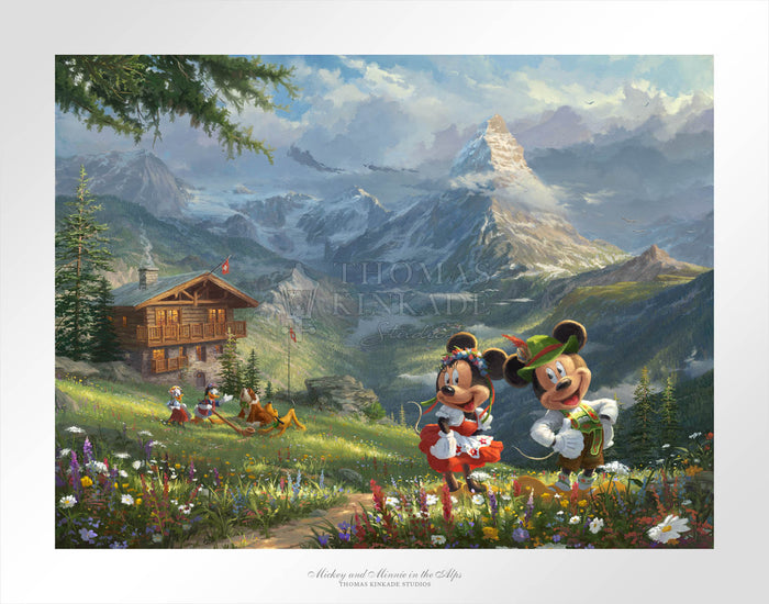 Mickey and Minnie in the Alps - Limited Edition Paper