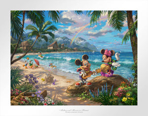 Mickey plays his ukulele for Minnie, while Donald, Daisy play ball, and Pluto run around carrying a bucket, and Goofy is out surfing.