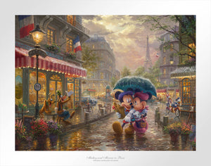 Dressed in traditional French attire, Mickey and Minnie enjoy playing tourist in their berets and striped shirts after spending the morning at the cafe - Paper Unframed