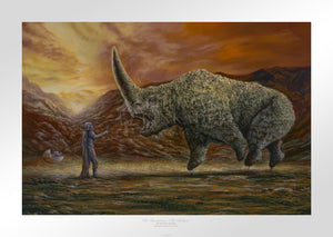 Mando and the Child confronts the Mudhorn beast. - Unframed Paper
