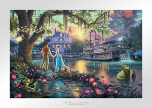Tiana meets Prince Naveen, who are later turned into an amphibian by evil Dr. Facilier share the stage with the bayou river swamp.