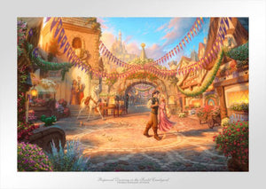 The day is bright with vibrant sunshine, which seems to glisten and sparkle on the stones and flowers. Flynn is looking deeply into the eyes of Rapunzel as he twirls her around the courtyard. - Unframed