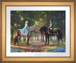 "Cinderella-Ella meets ""The Prince"" for the first time. The two happen to meet in the forest as The Prince is on a stag hunt, and Ella is on a ride of her own - Gold Frame."