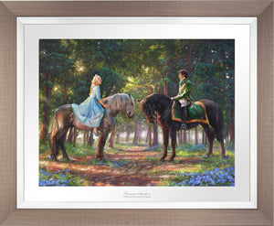 "Cinderella-Ella meets ""The Prince"" for the first time. The two happen to meet in the forest as The Prince is on a stag hunt, and Ella is on a ride of her own. - Space Gray Frame"