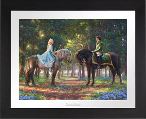 "Cinderella-Ella meets ""The Prince"" for the first time. The two happen to meet in the forest as The Prince is on a stag hunt, and Ella is on a ride of her own -Black Frame"