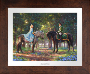 "Cinderella-Ella meets ""The Prince"" for the first time. The two happen to meet in the forest as The Prince is on a stag hunt, and Ella is on a ride of her own. - Wildwood Frame"
